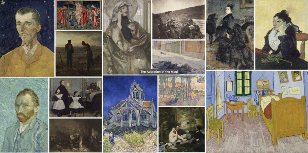 Obras de arte en los museos virtuales.